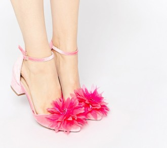 ASOS 'Stand Out' low heeled pink velvet pumps