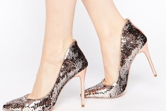 Ted Baker Savenniers Metallic Leather & Sequin Court Shoes