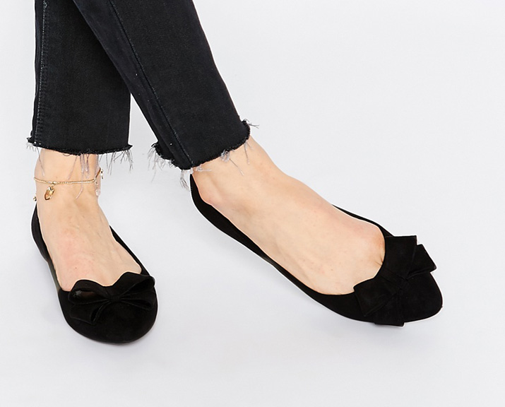 black ballet flats by New Look