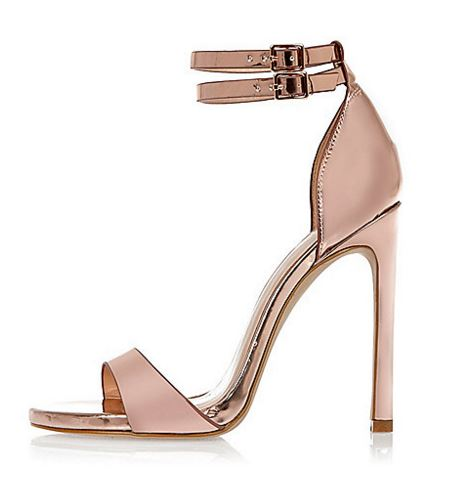 rose gold sandals by River island