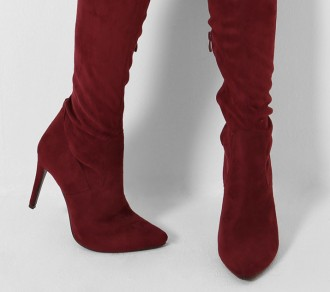 wine red knee boots