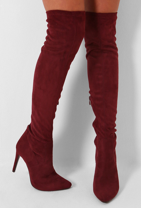 wine red over the knee boots