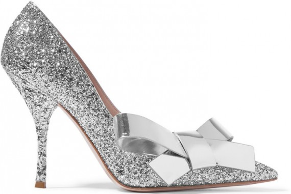 silver glitter miu miu shoes