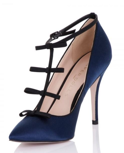 navy and black satin high heel shoes