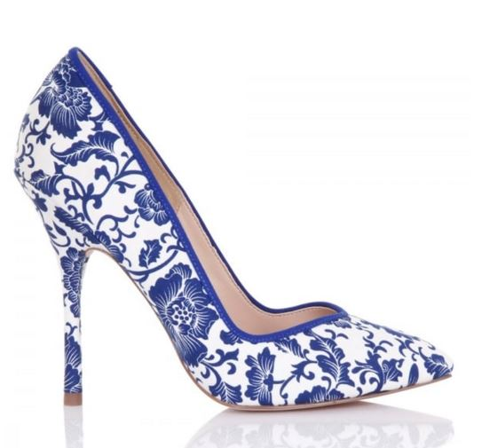 blue floral print pumps