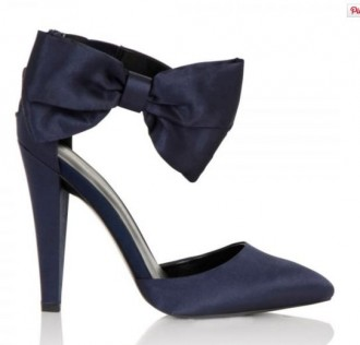blue shoes with bow at ankle