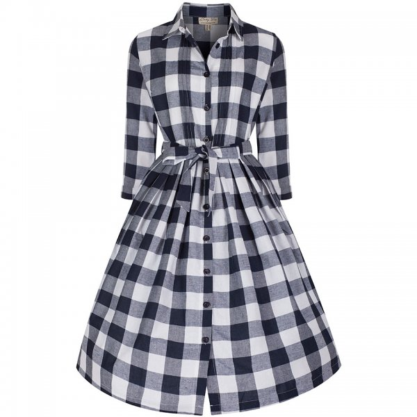 Lindy Bop 'Charlotte' Navy Gingham Day Dress