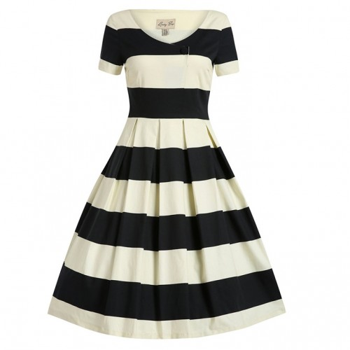 Dolce black and cream stripe dress by Lindy Bop