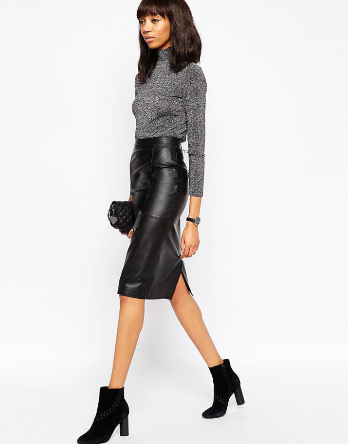 leather pencil skirt and grey sweater