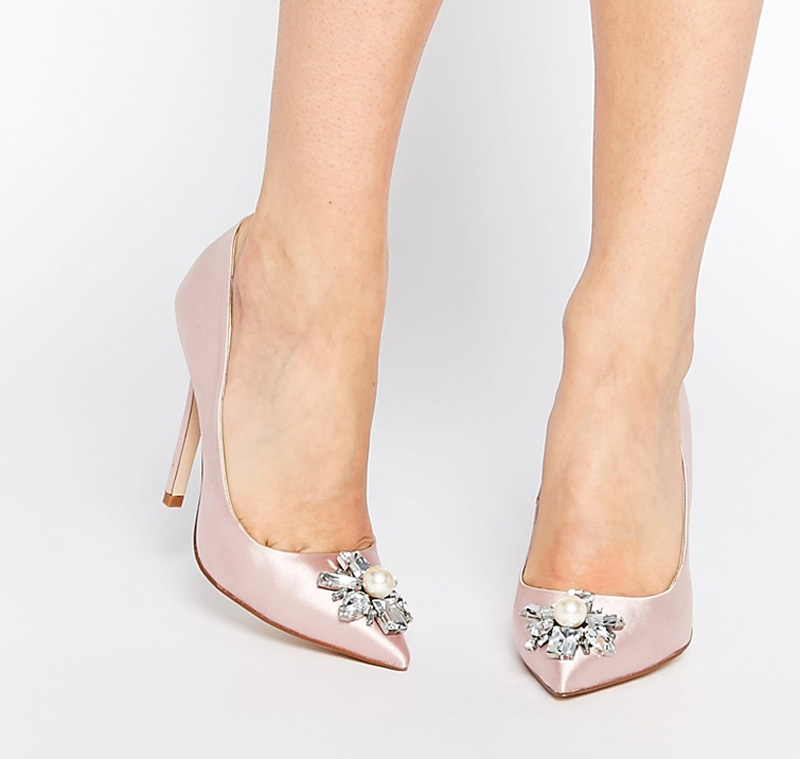 high heel pumps with embellished toe