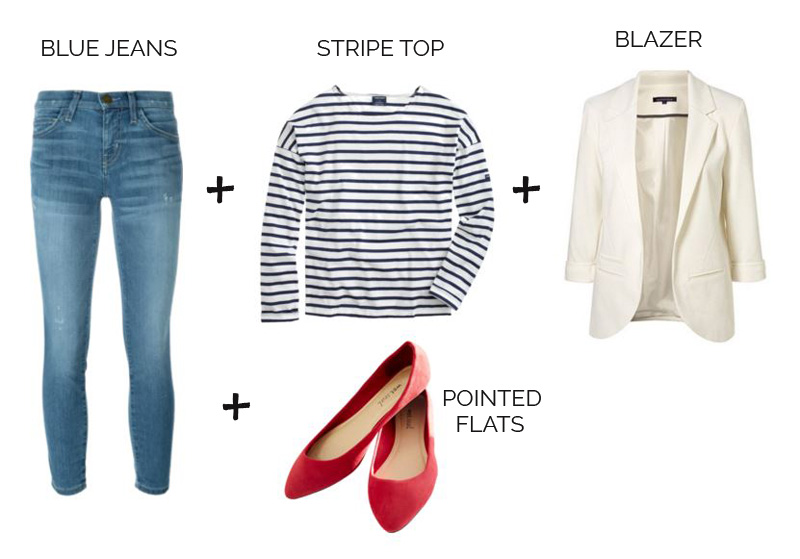 casual outfit formula: jeans, stripe top, red flats