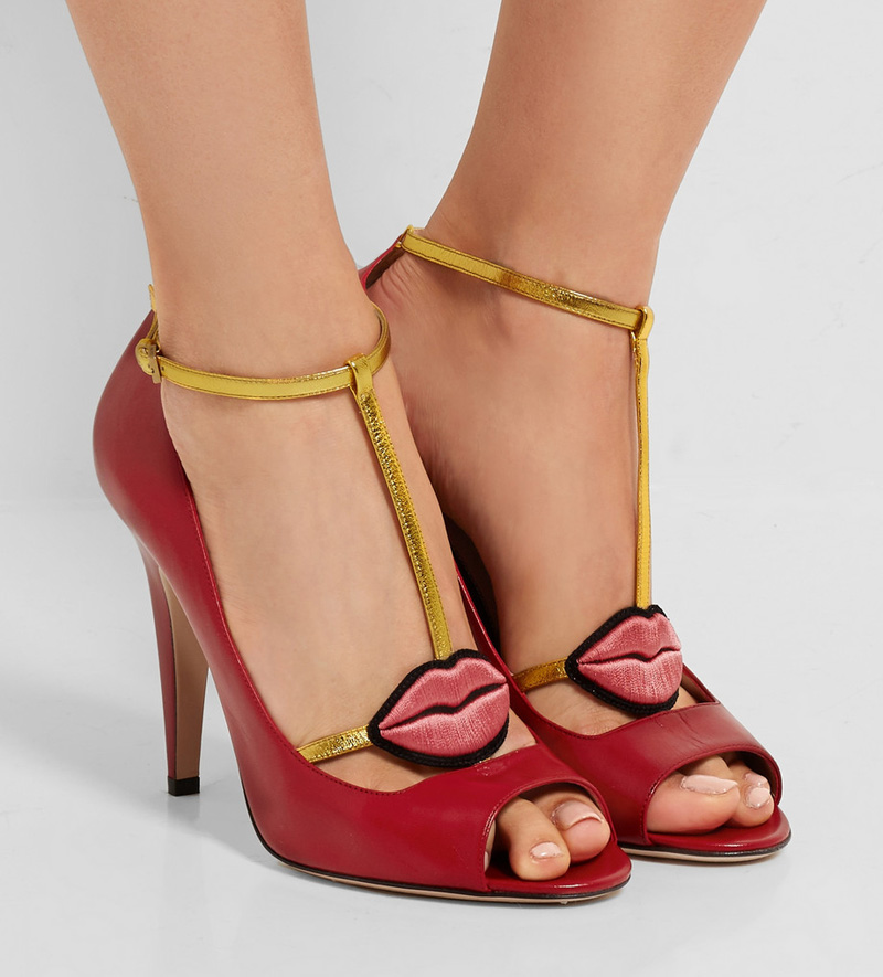 Gucci Lip Applique t-bar shoes