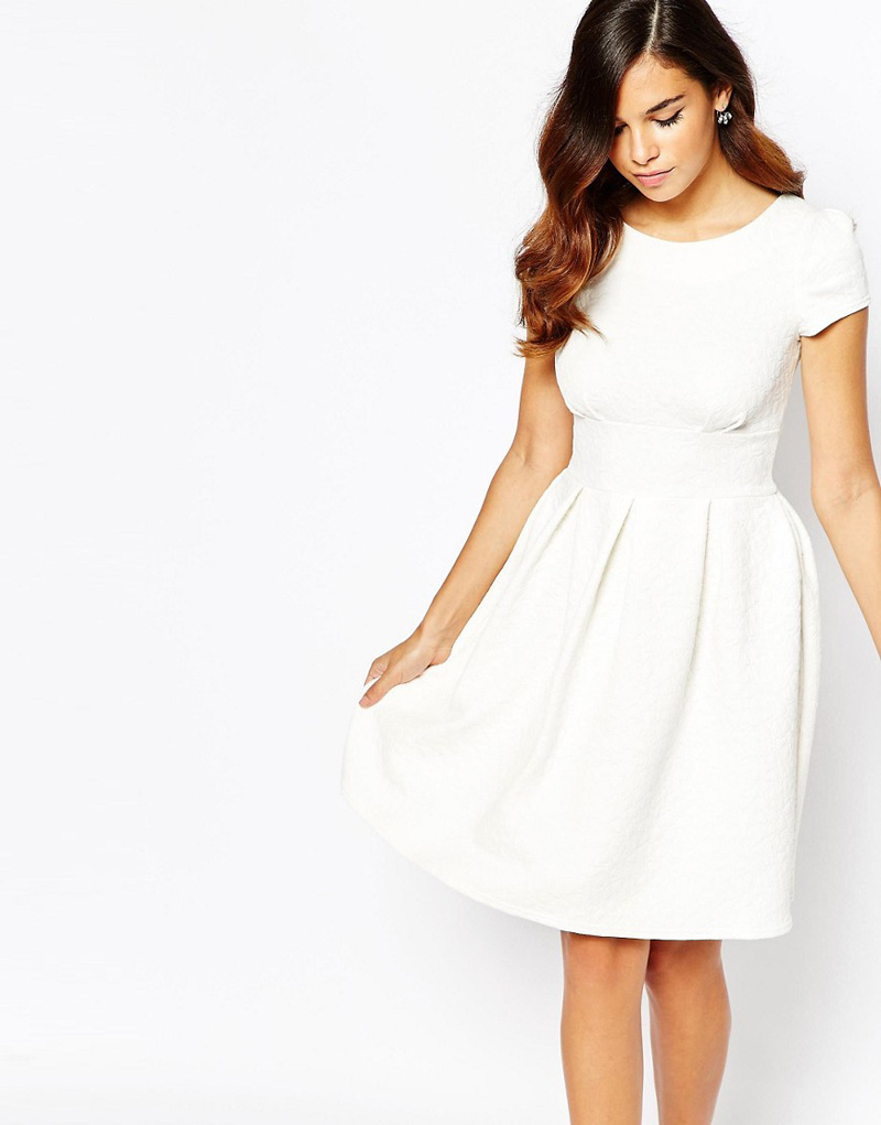white cap-sleeved dress