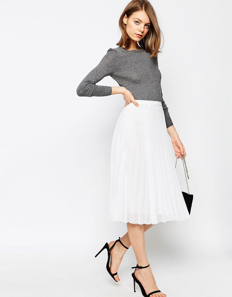 midi skirt and sweater