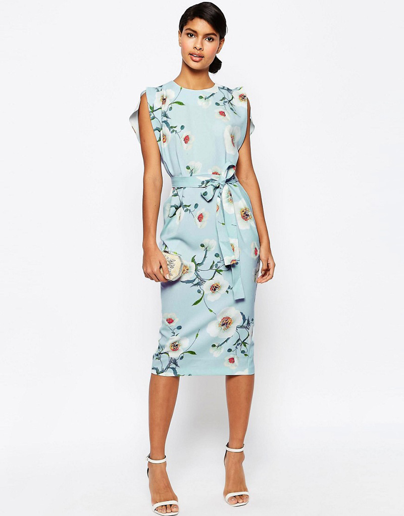 ASOS floral belted midi dress