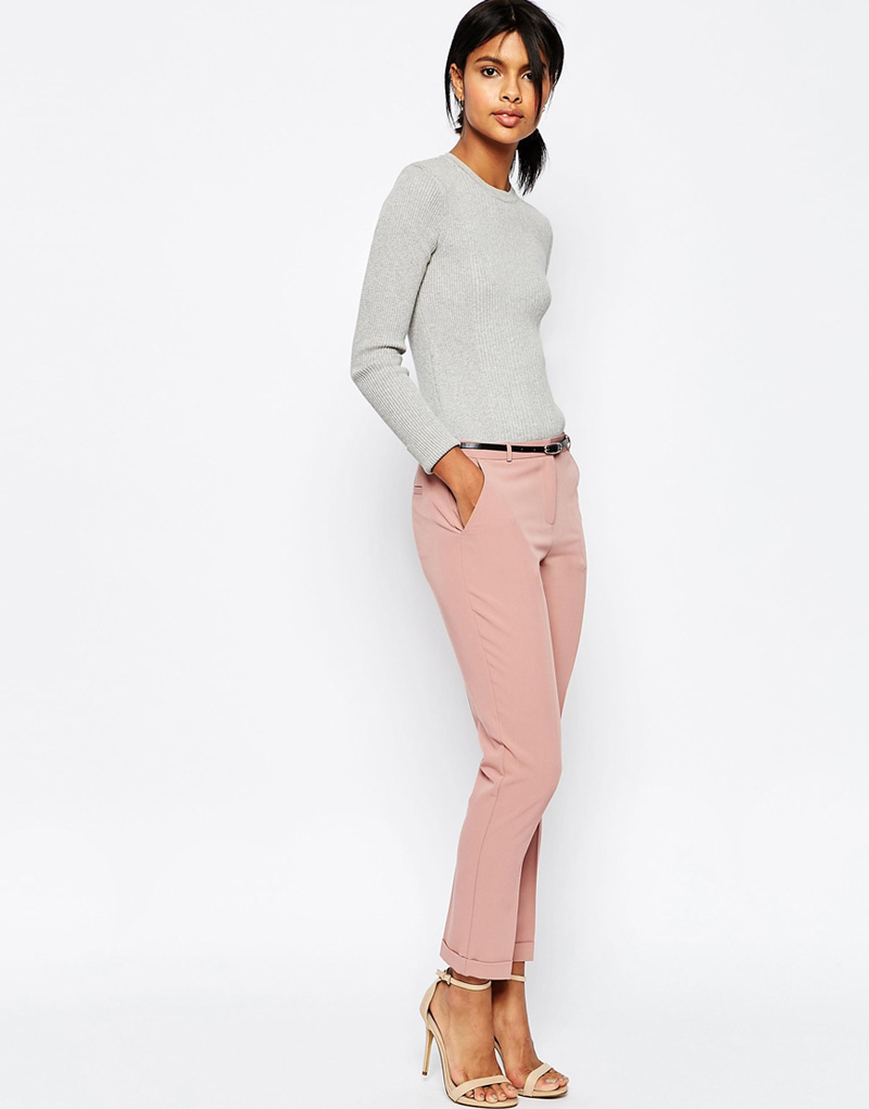 pink cigarette trousers with grey cropped sweater