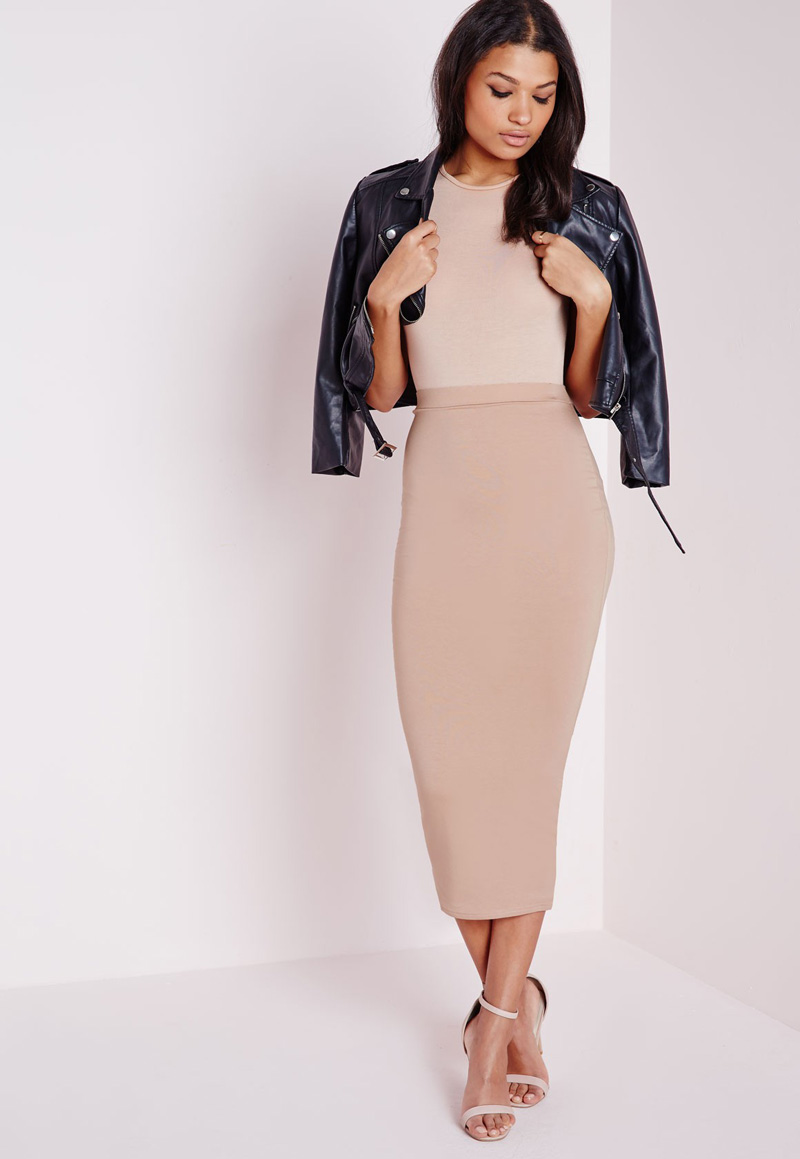nude pencil skirt with black biker jacket