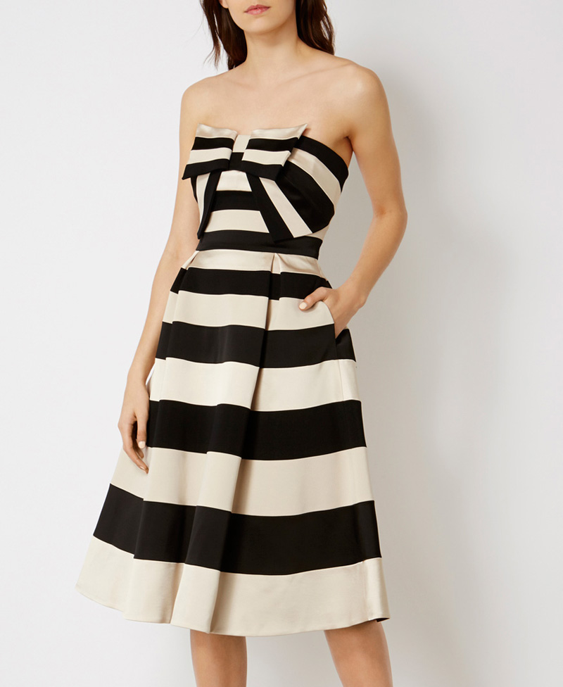 Karen Millen bow detail stripe dress