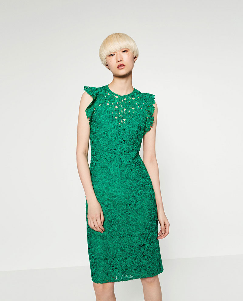 Zara green lace dress