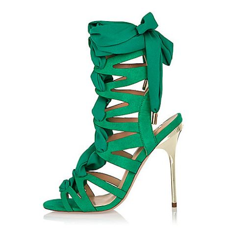 river Island green chiffon tie-heel sandals