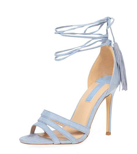 blue suede strappy sandals