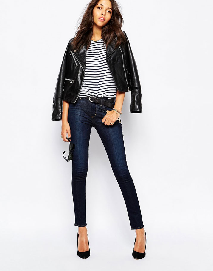 jeans and a biker jacket
