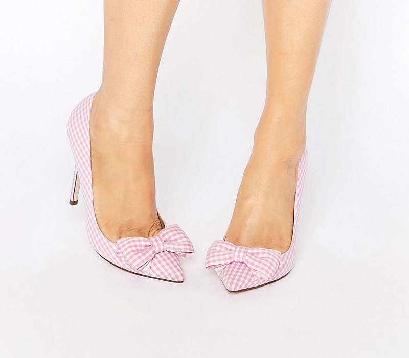 pink gingham bow heels