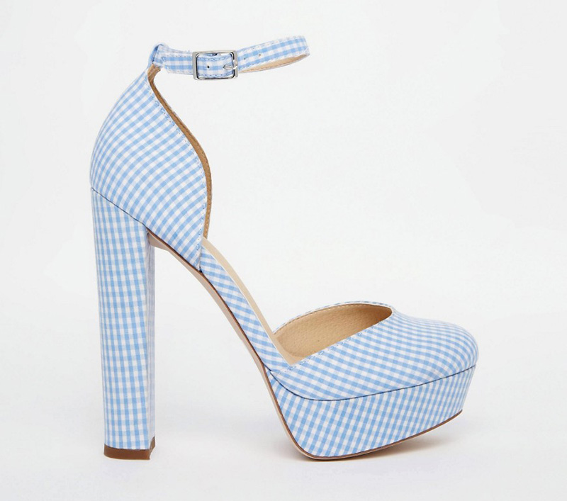 blue gingham platform shoes