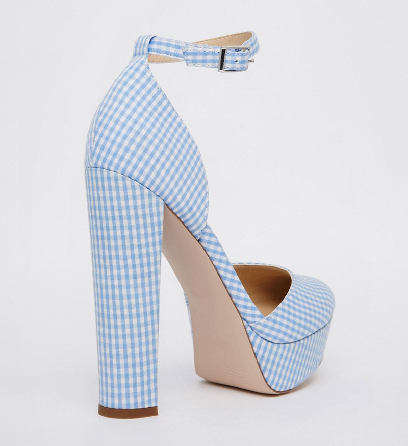 blue gingham high heeled platform shoes