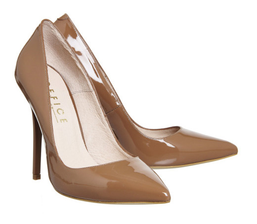 Office nude patent high heels