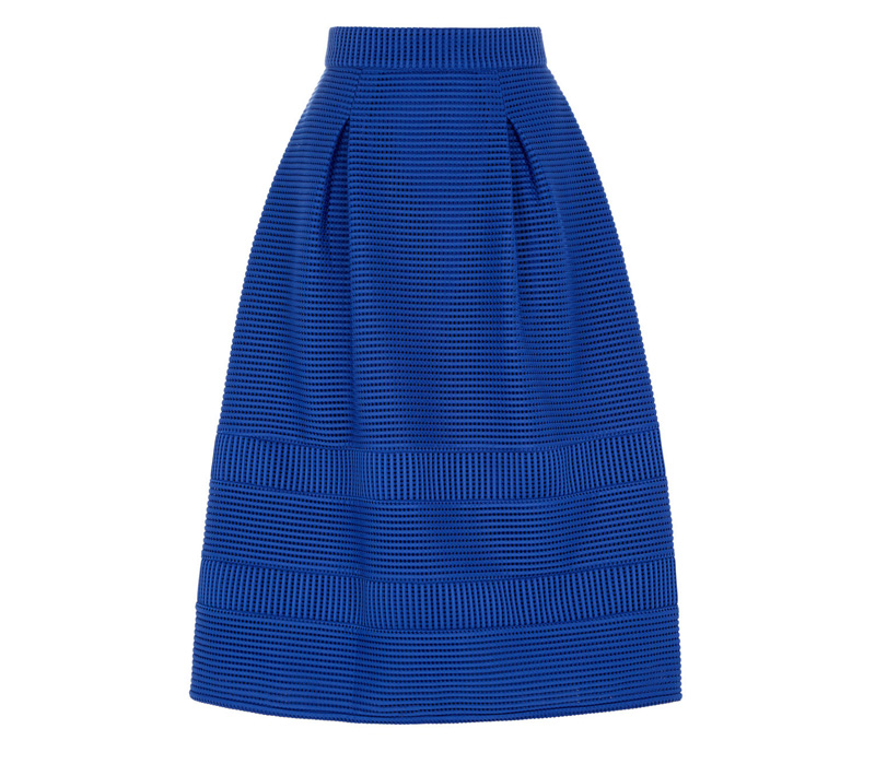 bright blue prom skirt