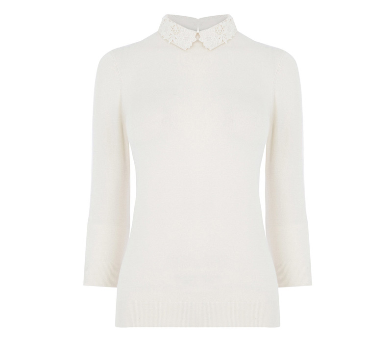 Warehouse lace collar jumper