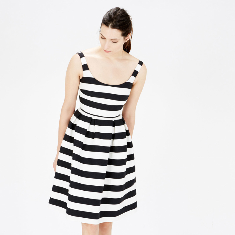 Warehouse stripe prom dress