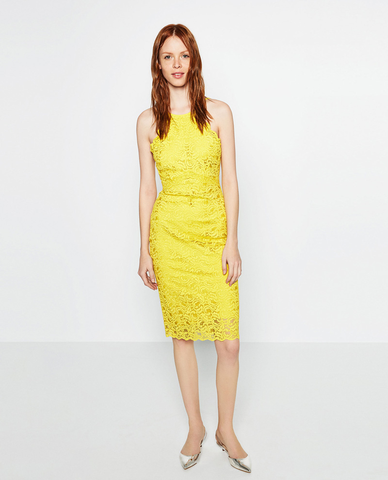 yellow lace shift dress