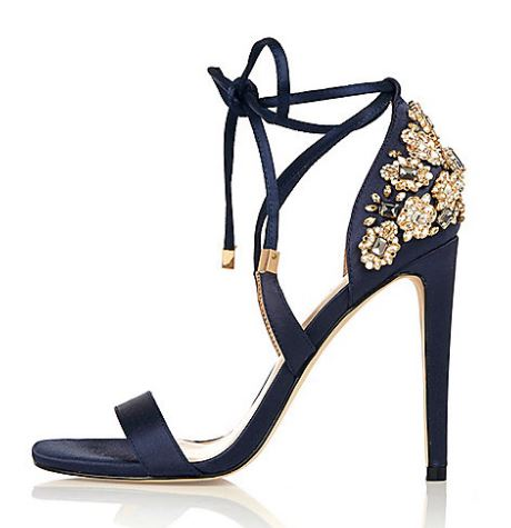 navy jewel heeled sandals