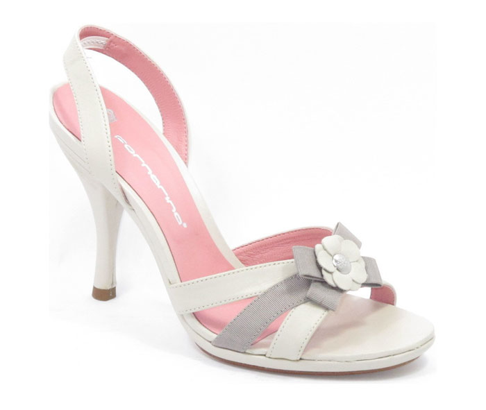 white and grey sandals