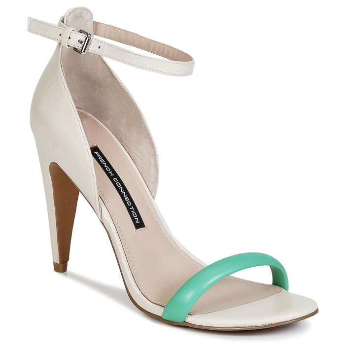 green and white sandals