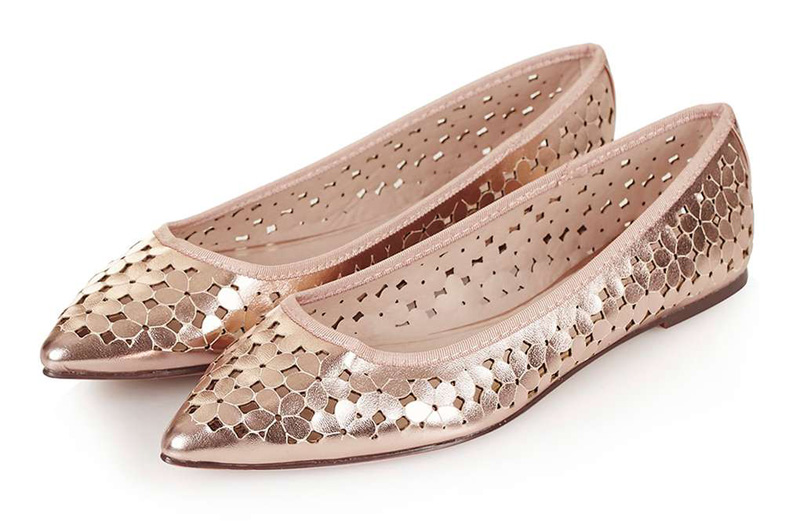 gold pointed ballet flats