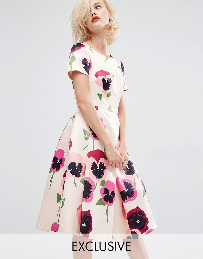 floral midi dress with cap sleeves