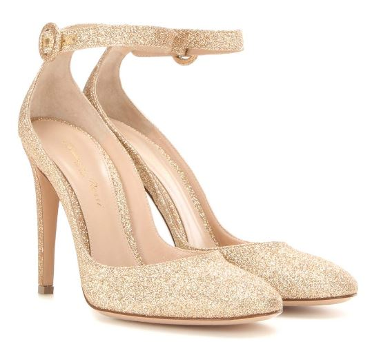 Gianvito Rossi gold glitter ankle strap pumps