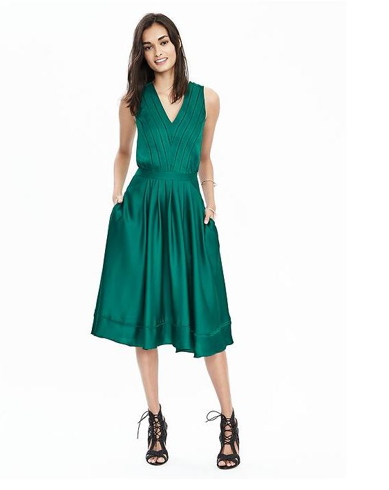 Banana Republic Green Silk Dress