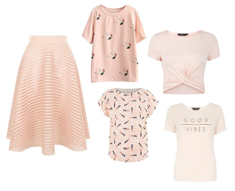 what to wear with a pink midi skirt