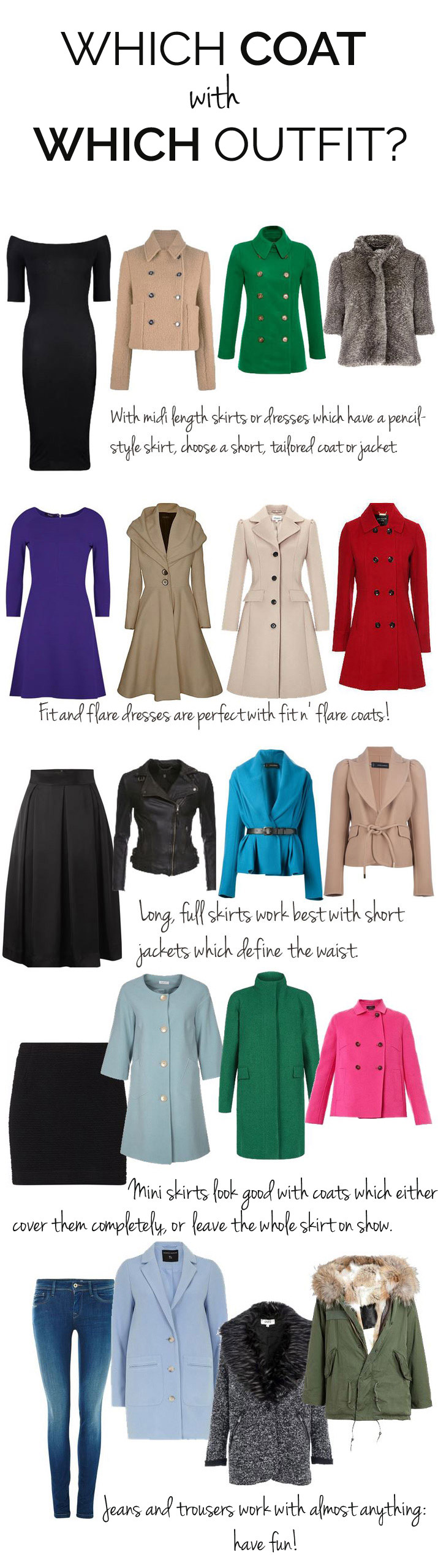 Which coat should you wear with each outfit