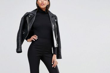 black biker jacket and cropped trousers