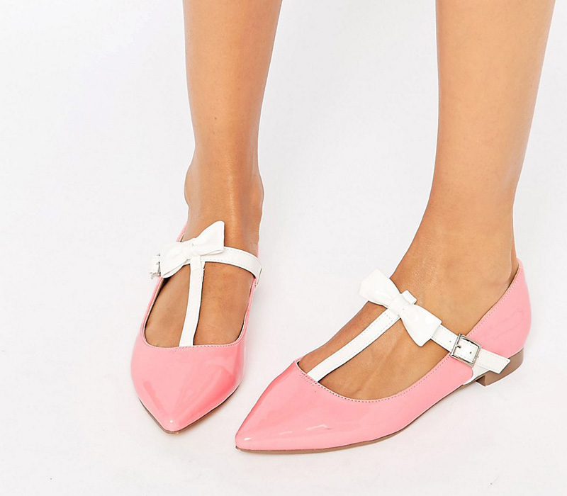 pink flats with white bow