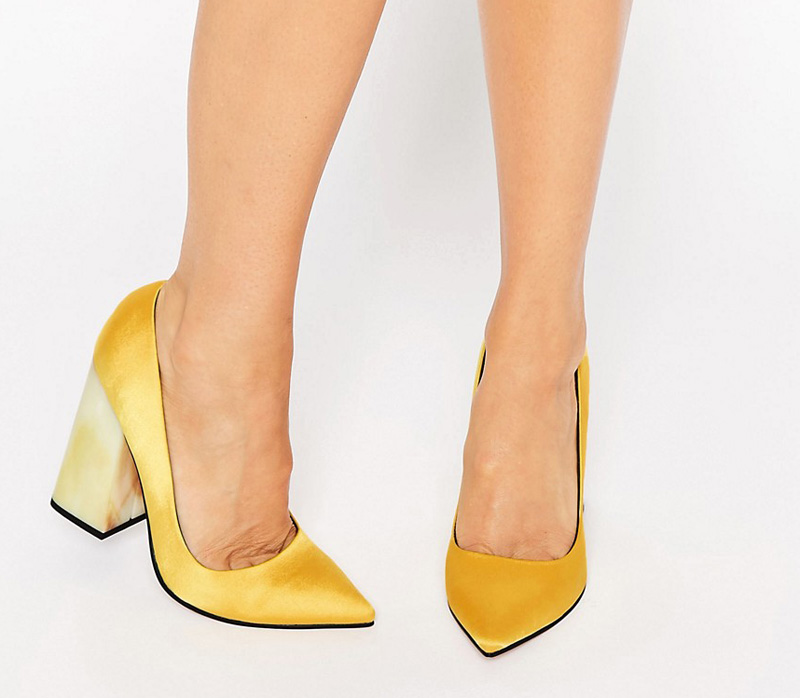 yellow pointed heels