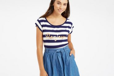 stripe t-shirt with chambray skirt