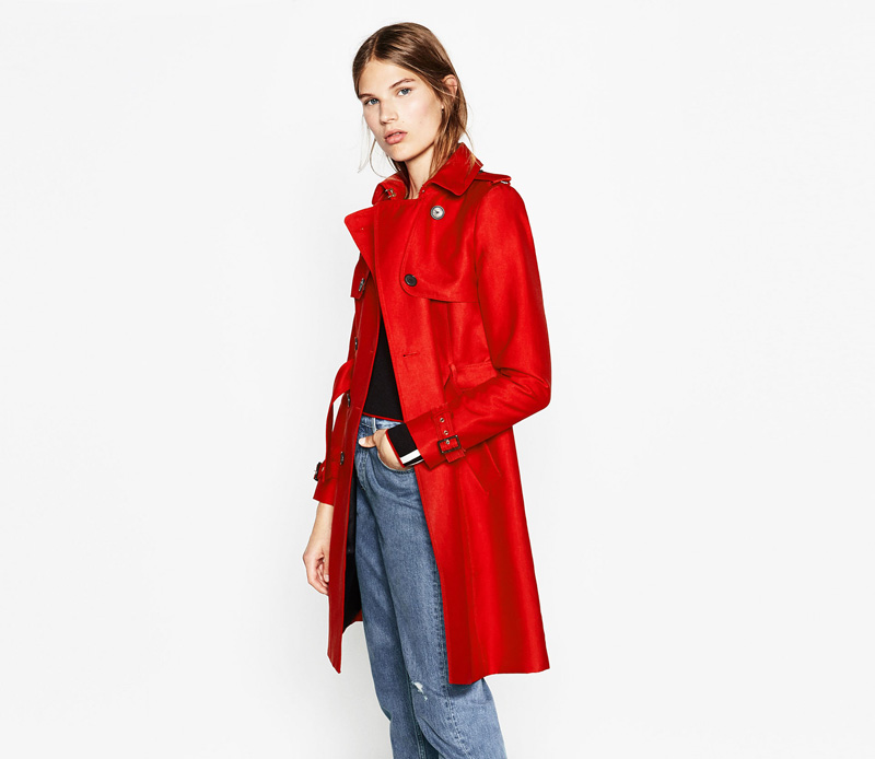 bright red trenchcoat