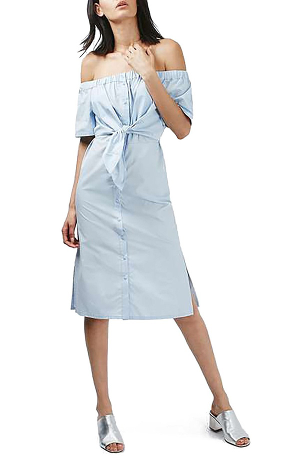 Topshop blue off-the-shoulder poplin dress