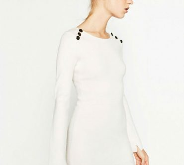 white button shoulder dress